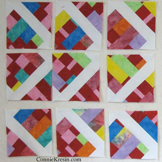 Scrappy batik quilt blocks