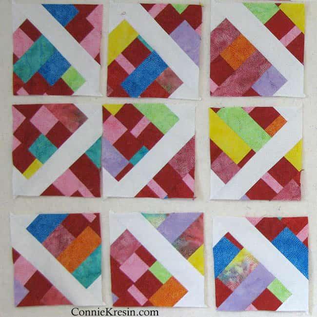 Scrappy batik quilt blocks
