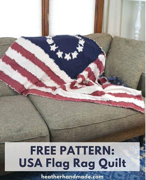 American Flag rag quilt