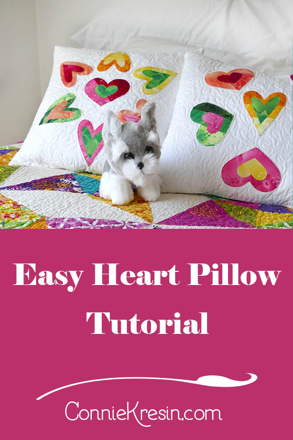 Easy Applique heart pillows using templates or AccuQuilt dies