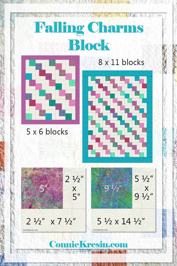 Falling Charms quick easy tutorial with block sizes