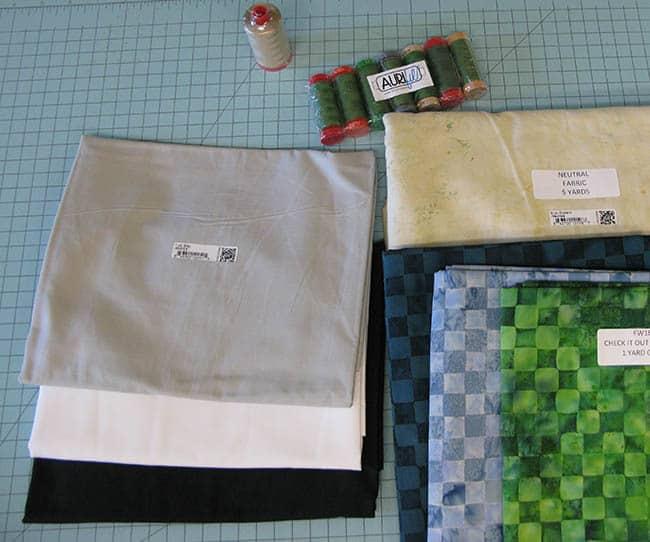 Island batik Ambassador Check It Out quilt fabric and Aurifil thread