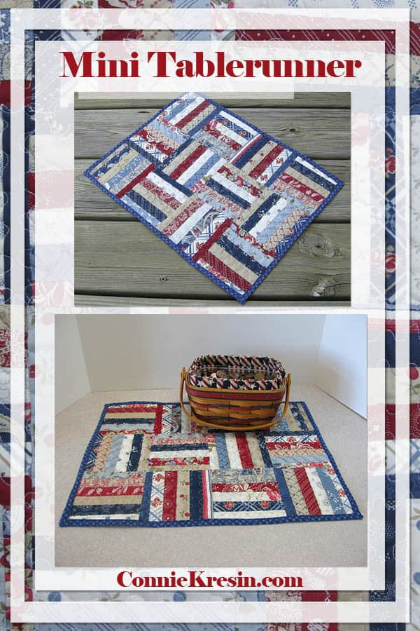 String mini quilt tablerunner for Independence Day