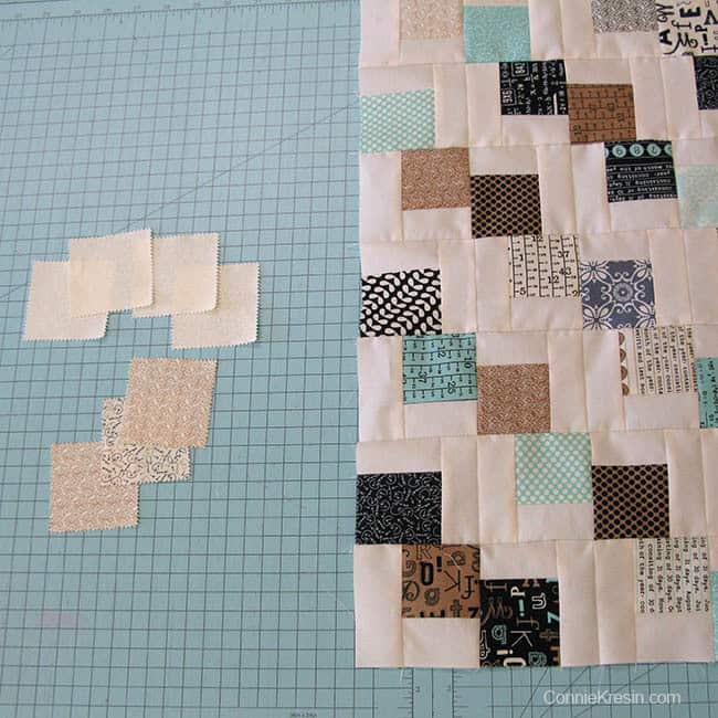 Mini Falling Charms quilted tablerunner charm squares not used