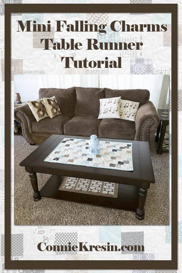 Mini Falling Charms quilted tablerunner fast and easy tutorial for mini charm packs