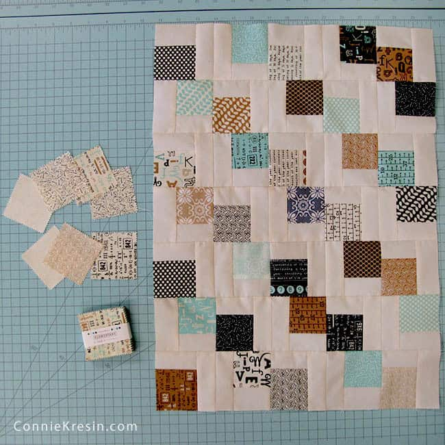 Mini Falling charms mini 2 1/2 inch square quilt blocks for tablerunner leftovers