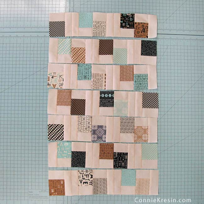 Mini Charm Pack Quilt made from Mini charms quilt blocks in rows