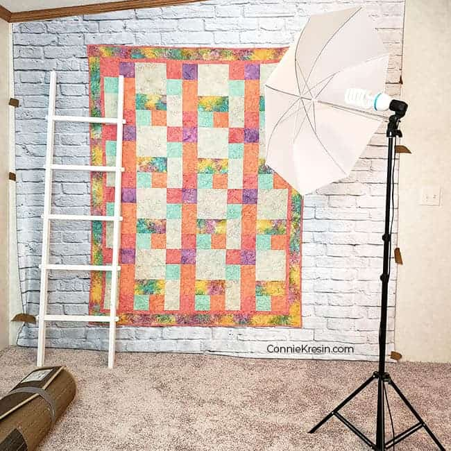 Lights and back drop for my quilt photography