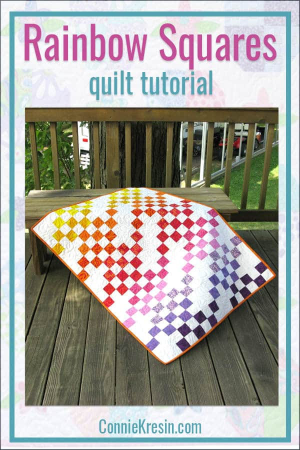Rainbow Squares batik baby quilt is easy to make