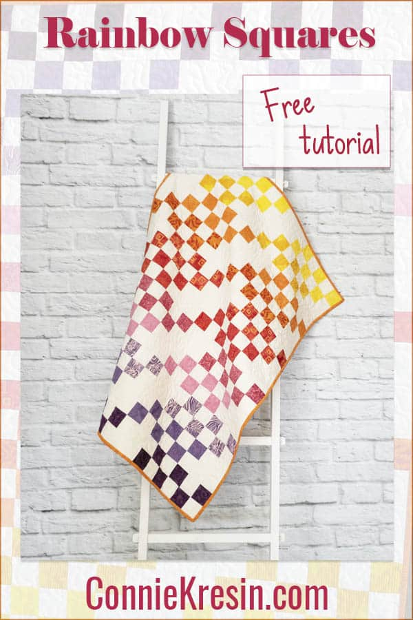 Rainbow Squares baby quilt tutorial easy to make