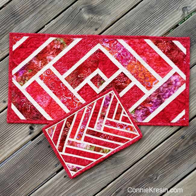 Red Mug Rug and red tablerunner