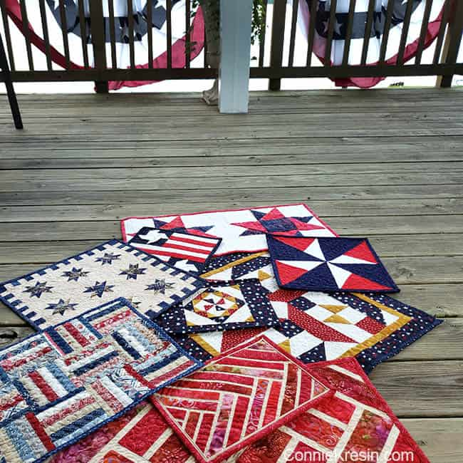 Spinning Star Tablerunner and other red white and blue