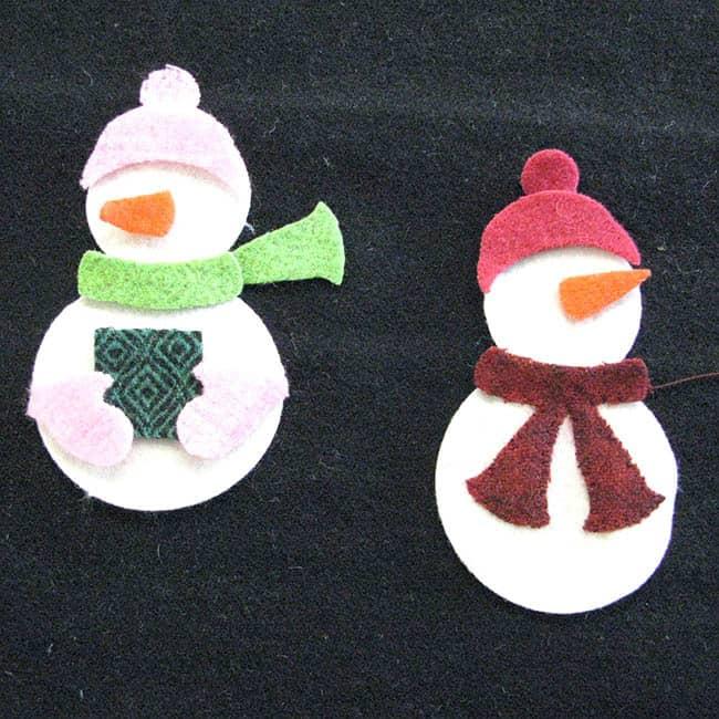 caroling snowmen wool table topper tutorial book
