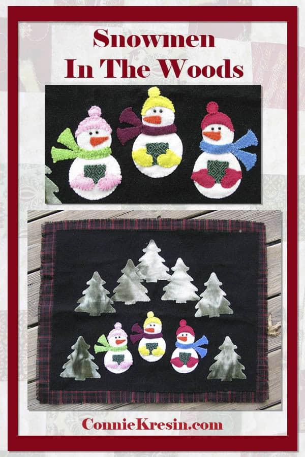 caroling snowmen wool table topper tutorial