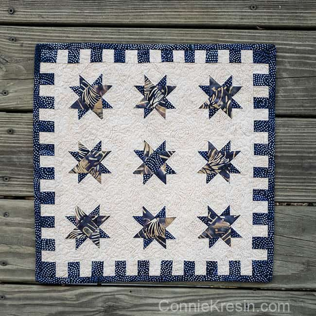 River Spinning Stars mini quilt