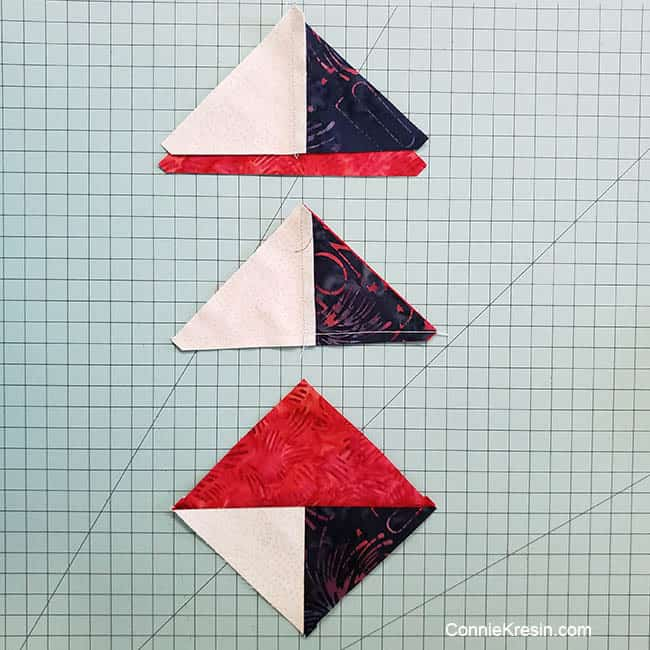 Spinning star quilt block sewing the HSTs and Quarter Square Triangles