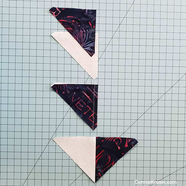 Spinning star quilt block sewing the HSTs