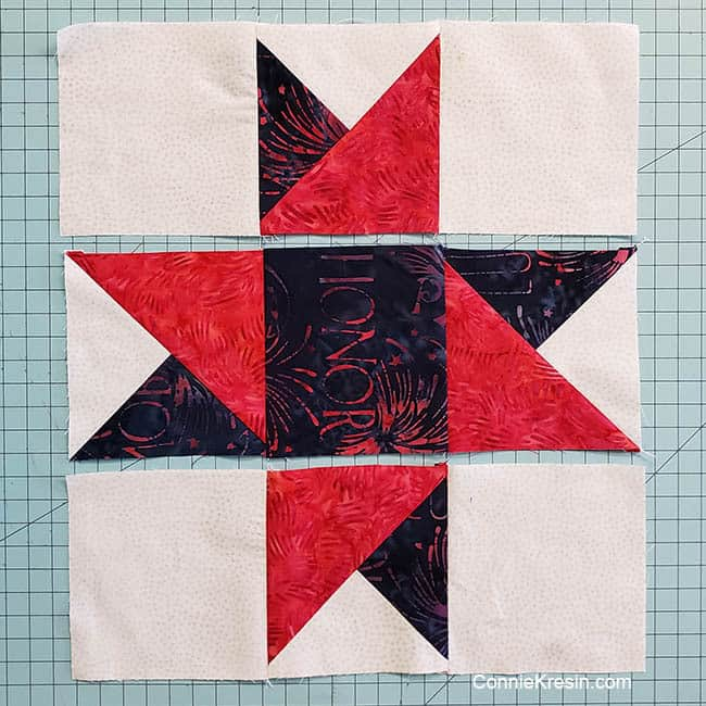 Spinning star quilt block lay out block rows