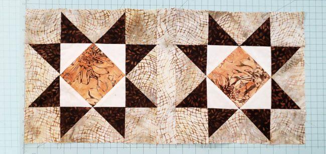 Sew sashing between blocks