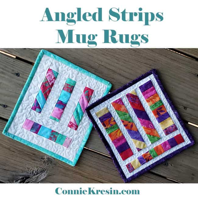 Angles Strips Mug Rugs easy tutorial