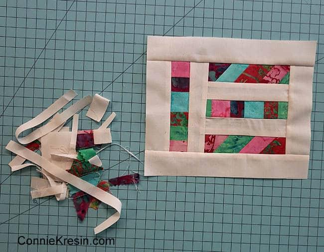 Angled Strips Mug Rug tutorial scraps being sewn together add sashing