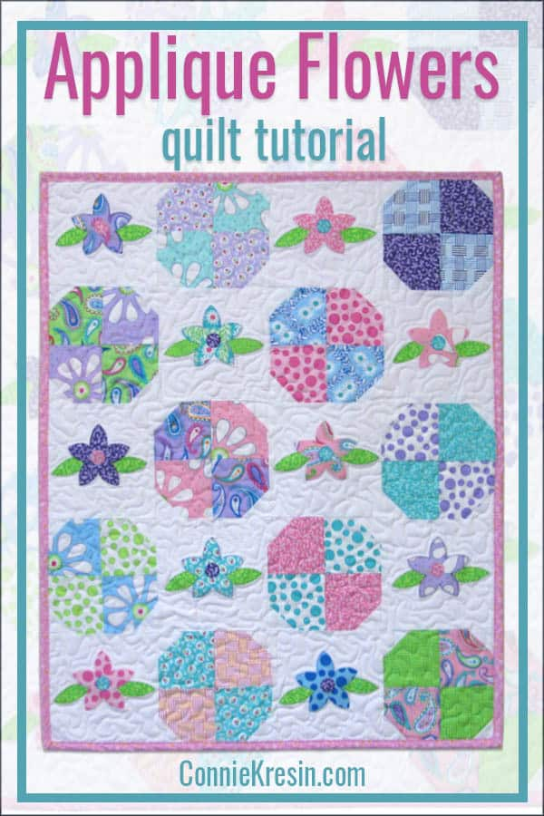 Applique Floral Baby quilt is easy to make using AccuQuilt dies or by using rotary cutting