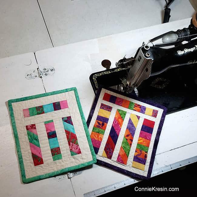 Angled Strips Mug Rug tutorial sewing machine table