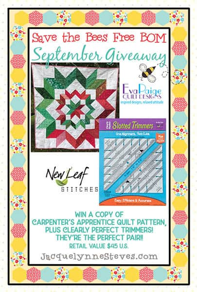 Save the Bees BOM Giveaway September 2018