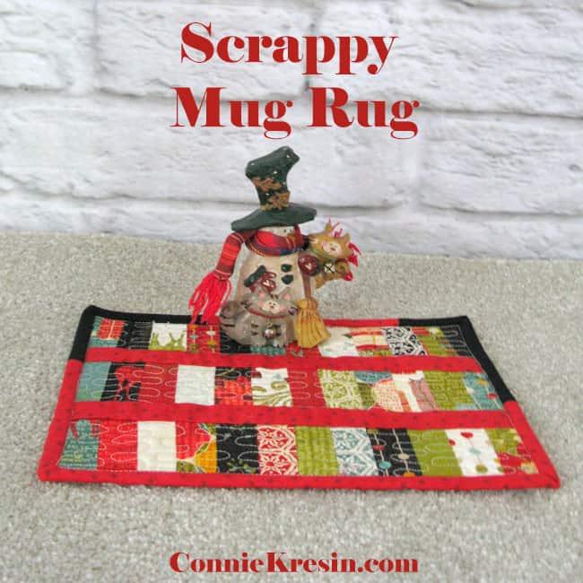 Scrappy Mug Rug tutorial for Christmas