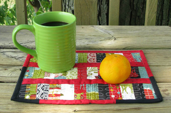 Easy to make scrappy mug rug with coffee
