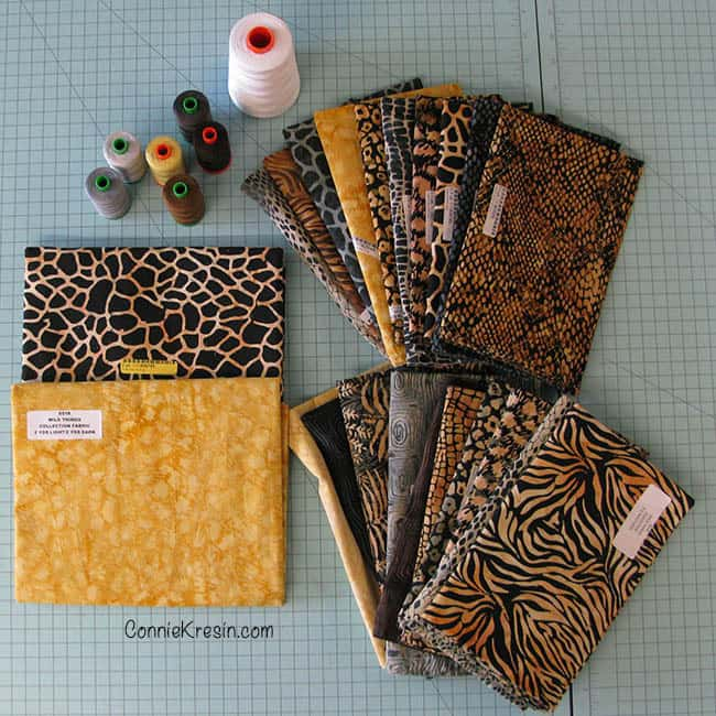 Stacks quilt made with the Wild Things collection of batiks from Island Batik