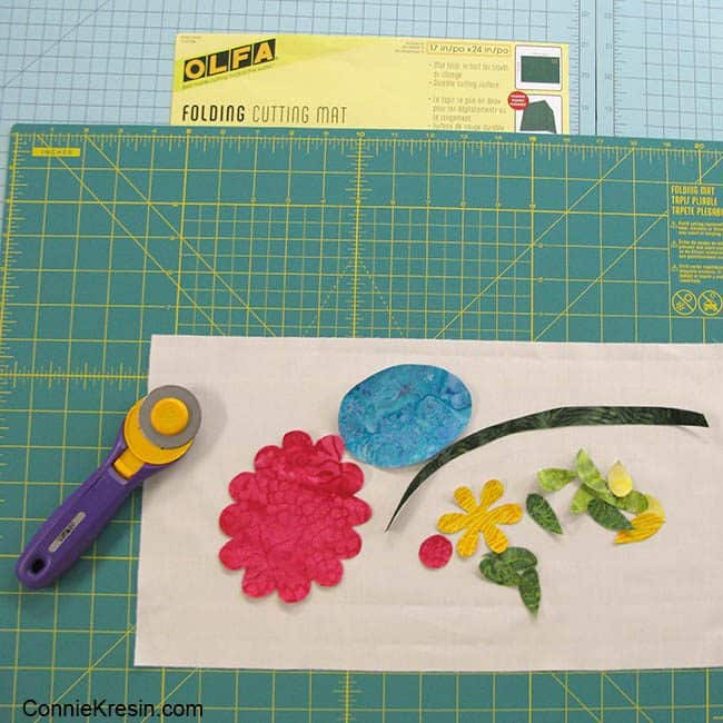Save the Bees Block of the Month Olfa quilting supplies for applique cutting