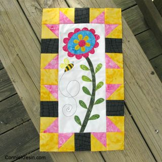 Save the Bees Block of the Month Block One on bench