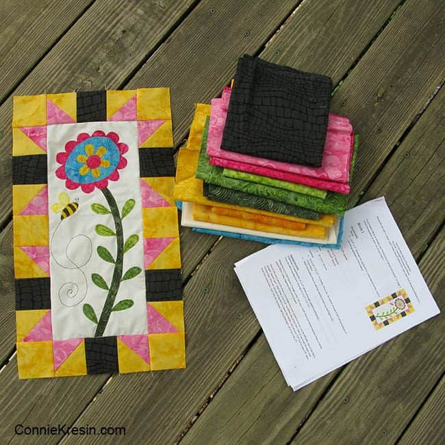 Save the Bees Block of the Month Block One with pattern and fabrics