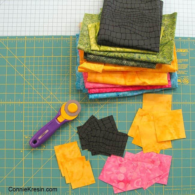 Save the Bees Block of the Month Block One fabric and Olfa cutter and board