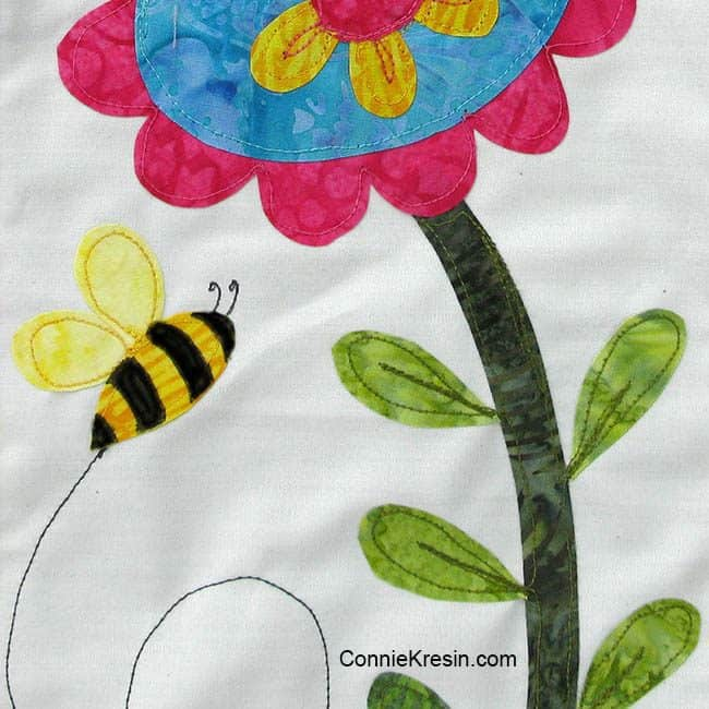Save the Bees Block of the Month Block One closeup of the bee with black stripes
