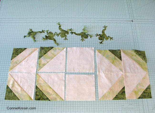 Batik frogs table runner made with AccuQuilt dies
