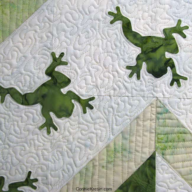 Cute frog made from Island Batik fabrics and AccuQuilt die