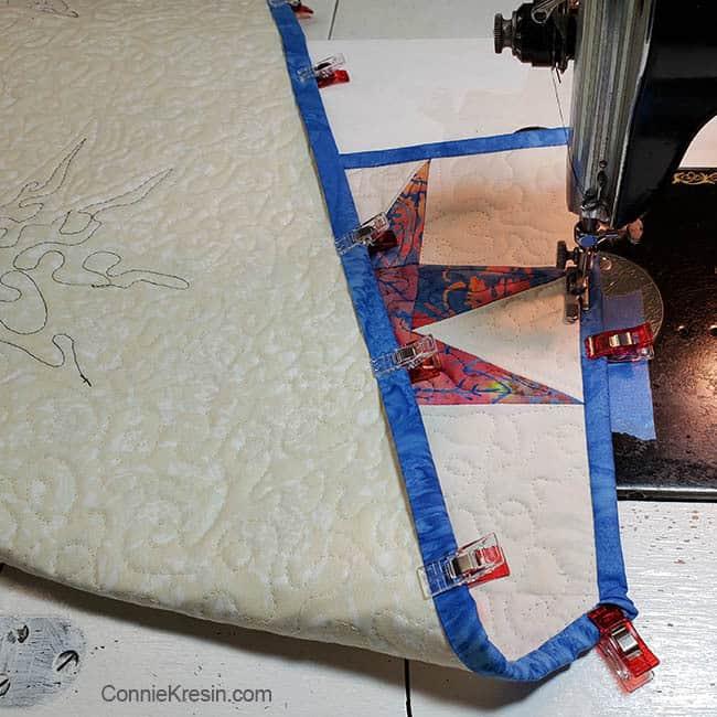 Island Batik Star tablerunner closeup of adding the binding