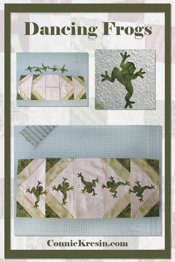 Batik frogs table runner and wall hanging made with AccuQuilt dies