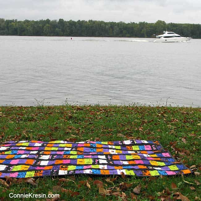 Quilt by the Mississippi river with a boat going by