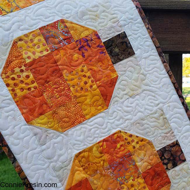Pumpkin batik tablerunner and block tutorial closeup
