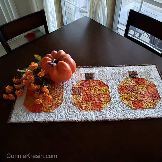 Pumpkin batik tablerunner and block tutorial decorating for halloween