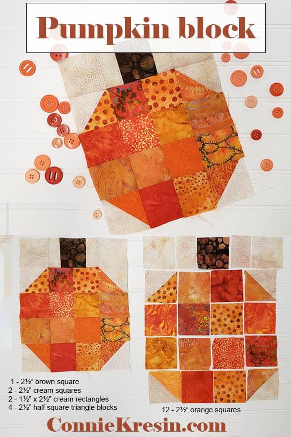 Batik Pumpkin Block tutorial which is easy to make