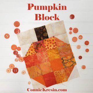 Batik Pumpkin Quilt block tutorial and table runner