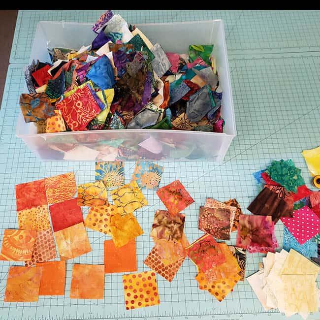 Batik Pumpkin Block tutorial scraps of quilt fabrics