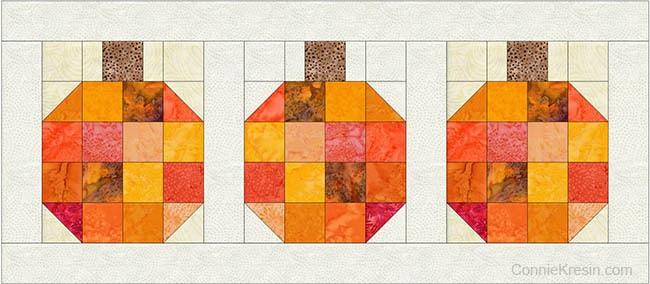 Batik Pumpkin Block tutorial electric quilt design