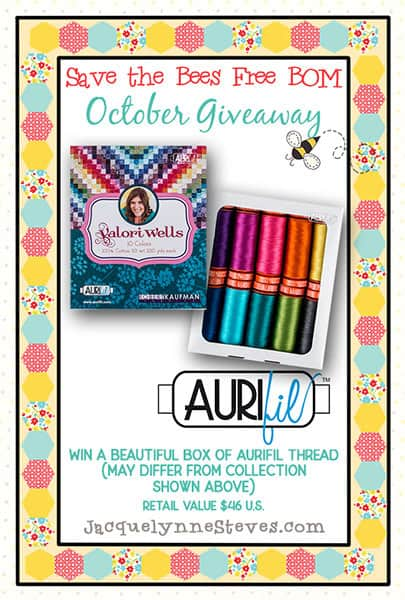 Aurifil thread giveaway for Save the Bees block 3