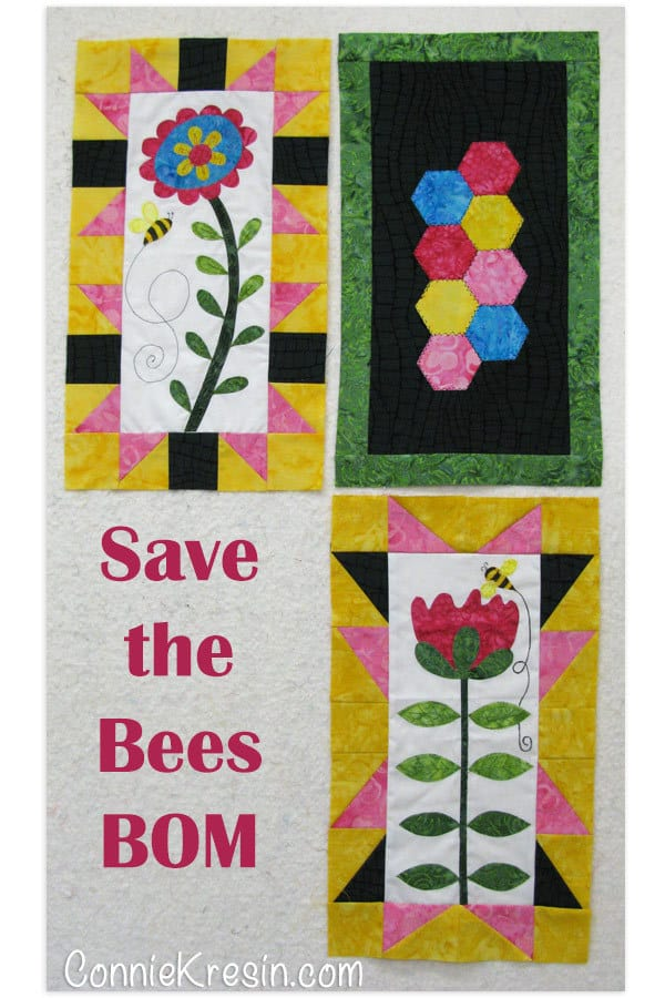 Save the Bees BOM Block 3 free pattern