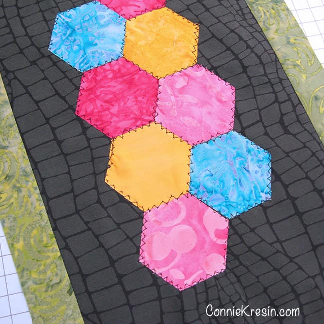 Using the AccuQuilt hexagon die for the Save the Bees BOM block 3